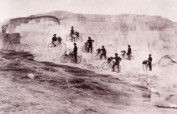 Army Bicyclists on Mammoth Hot Springs Terraces, Yellowstone National Park, ca. 1896 (National Park Service)