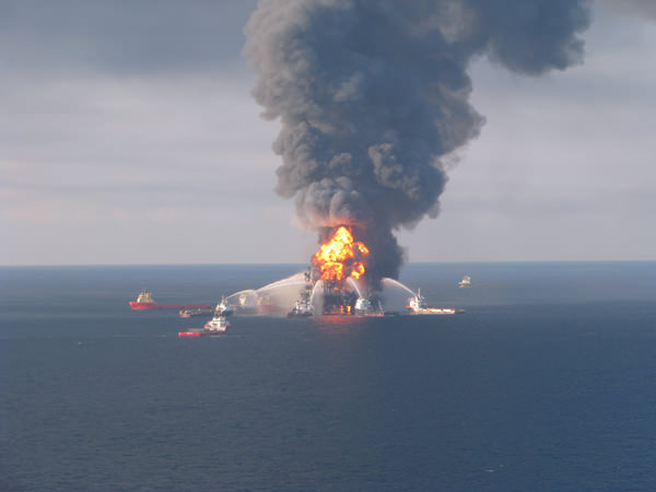 Deepwater Horizon oil rig fire, Gulf of Mexico, 2010 (U.S. Coast Guard)