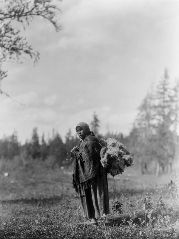 Cree woman carrying moss on her back, c.1927 (Edward S. Curtis Collection)
