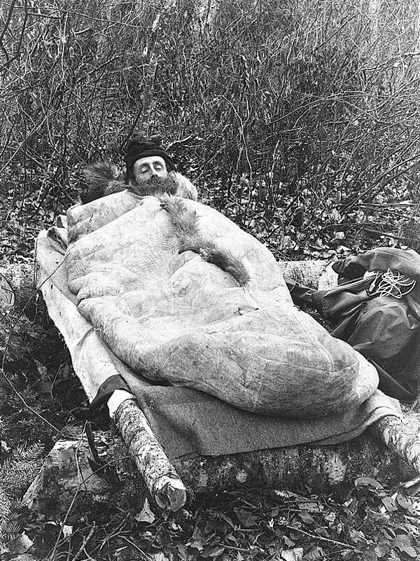Man in animal-skin sleeping bag, 1888 (Library of Congress)